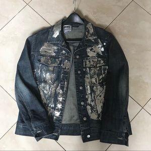 Rag union denim jacket with silver